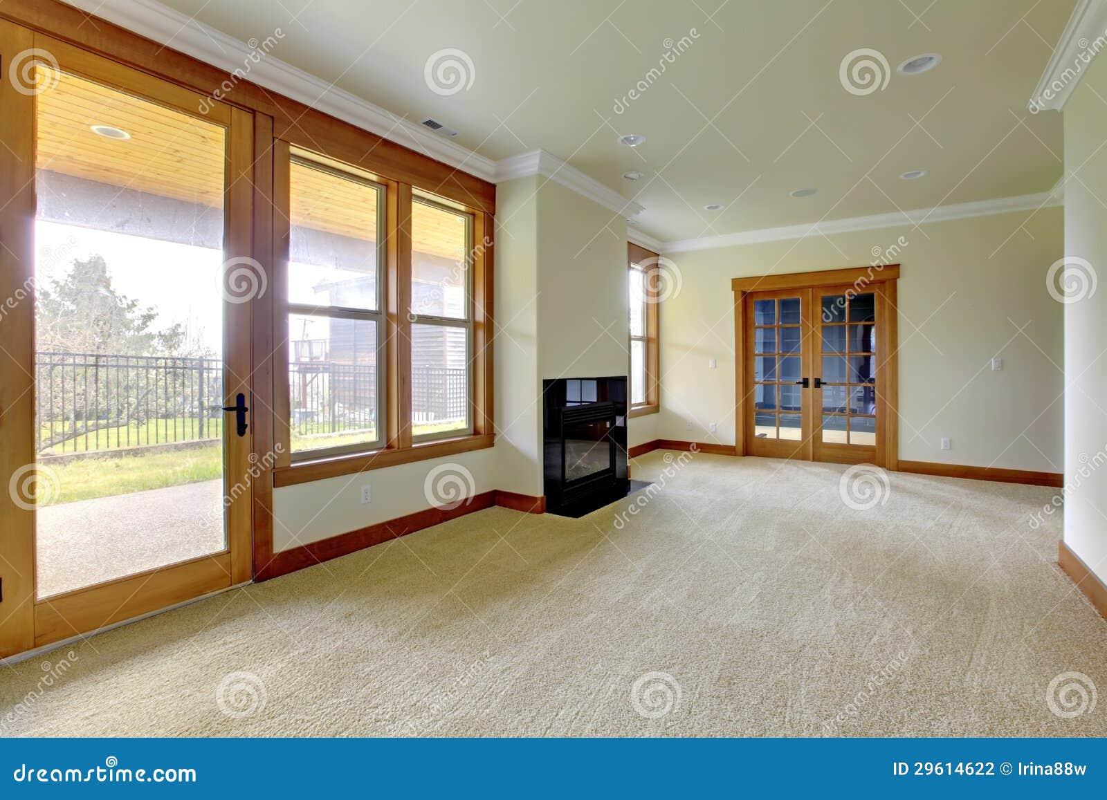 Grande pièce vide avec la cheminée intérieur à la maison de luxe neuf