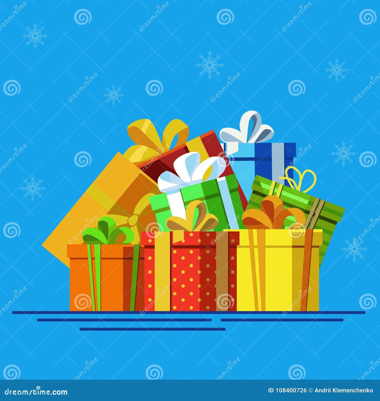 Grande pile des boîte-cadeau enveloppés colorés Un bon nombre de présents
