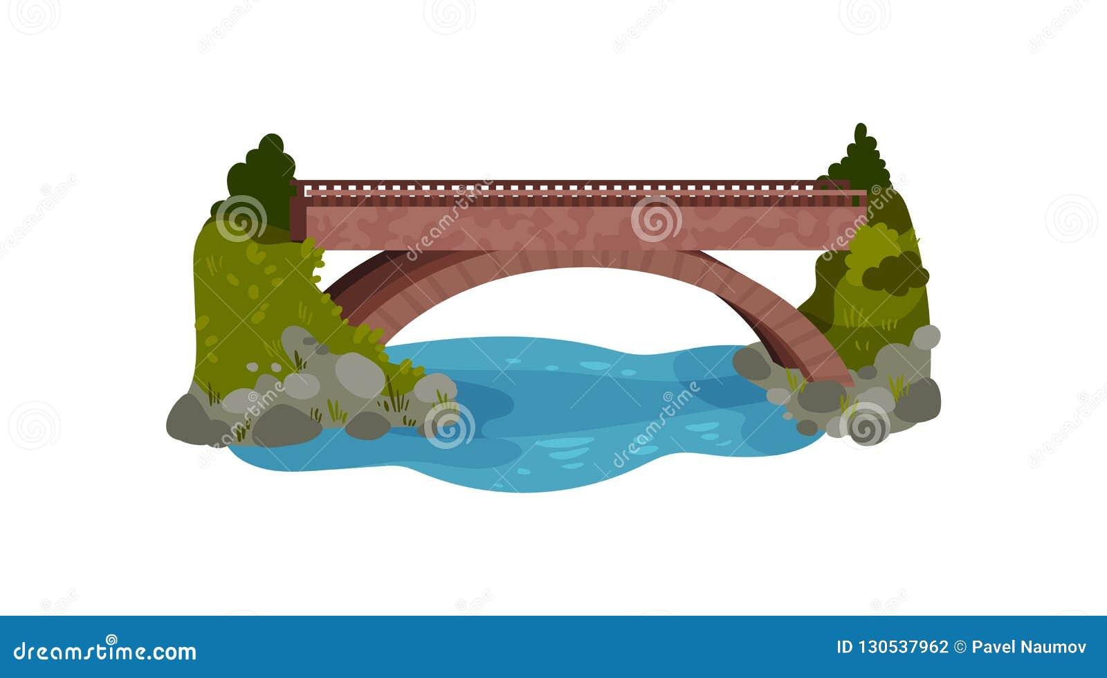Grande ponte sobre o rio Arbustos e grama verde, pedras e água Elemento da paisagem Projeto liso do vetor para o mapa da cidade