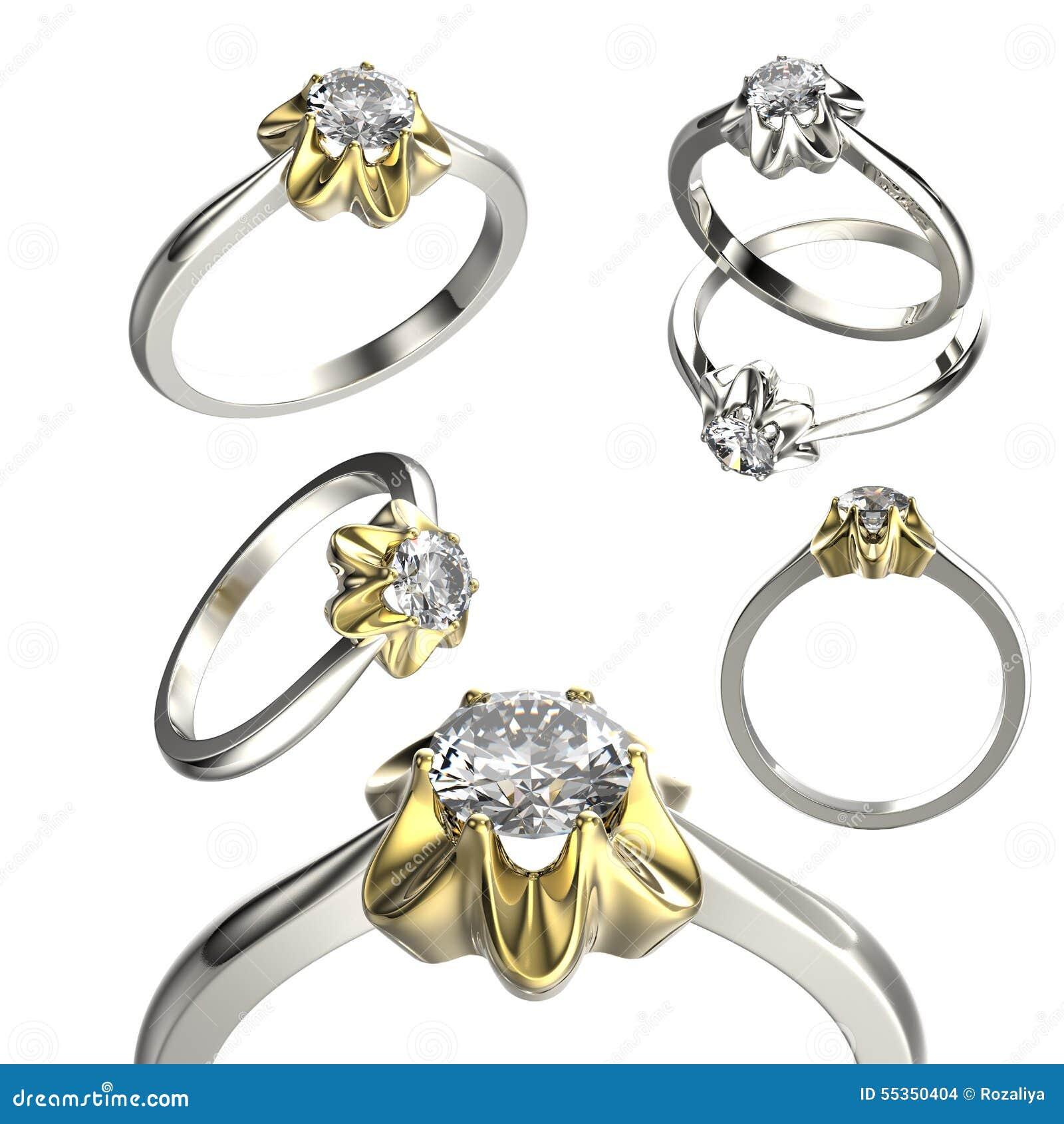 Grande raccolta con gli anelli di diamante Priorità bassa nera dei monili del tessuto dell argento e dell oro