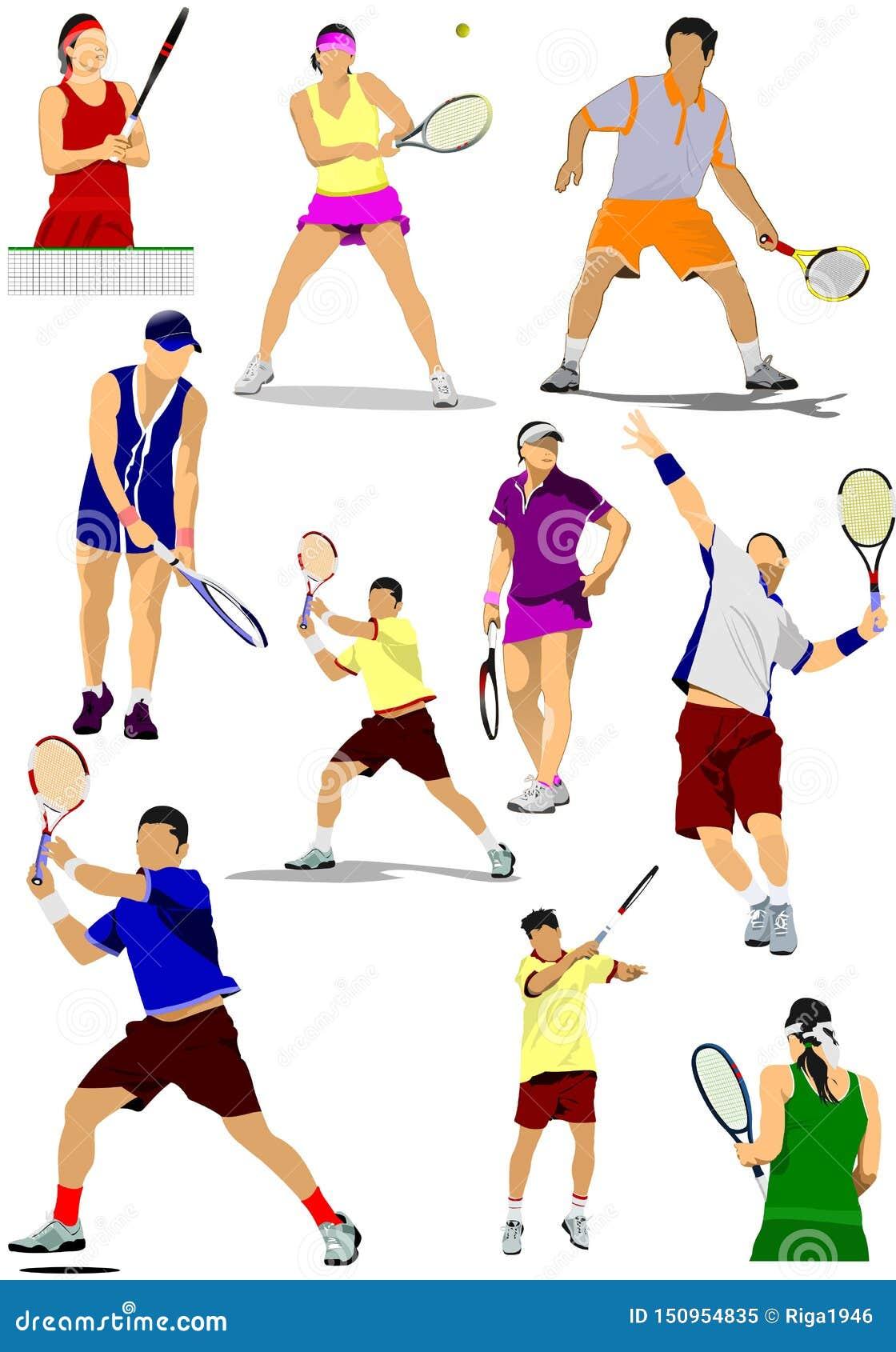 Grande raccolta delle siluette del tennis
