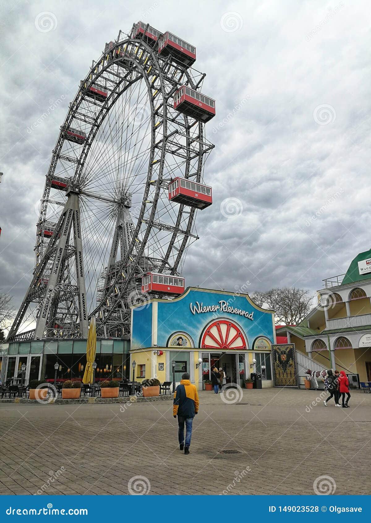 Grande roue en parc de Prater, Vienne, Autriche
