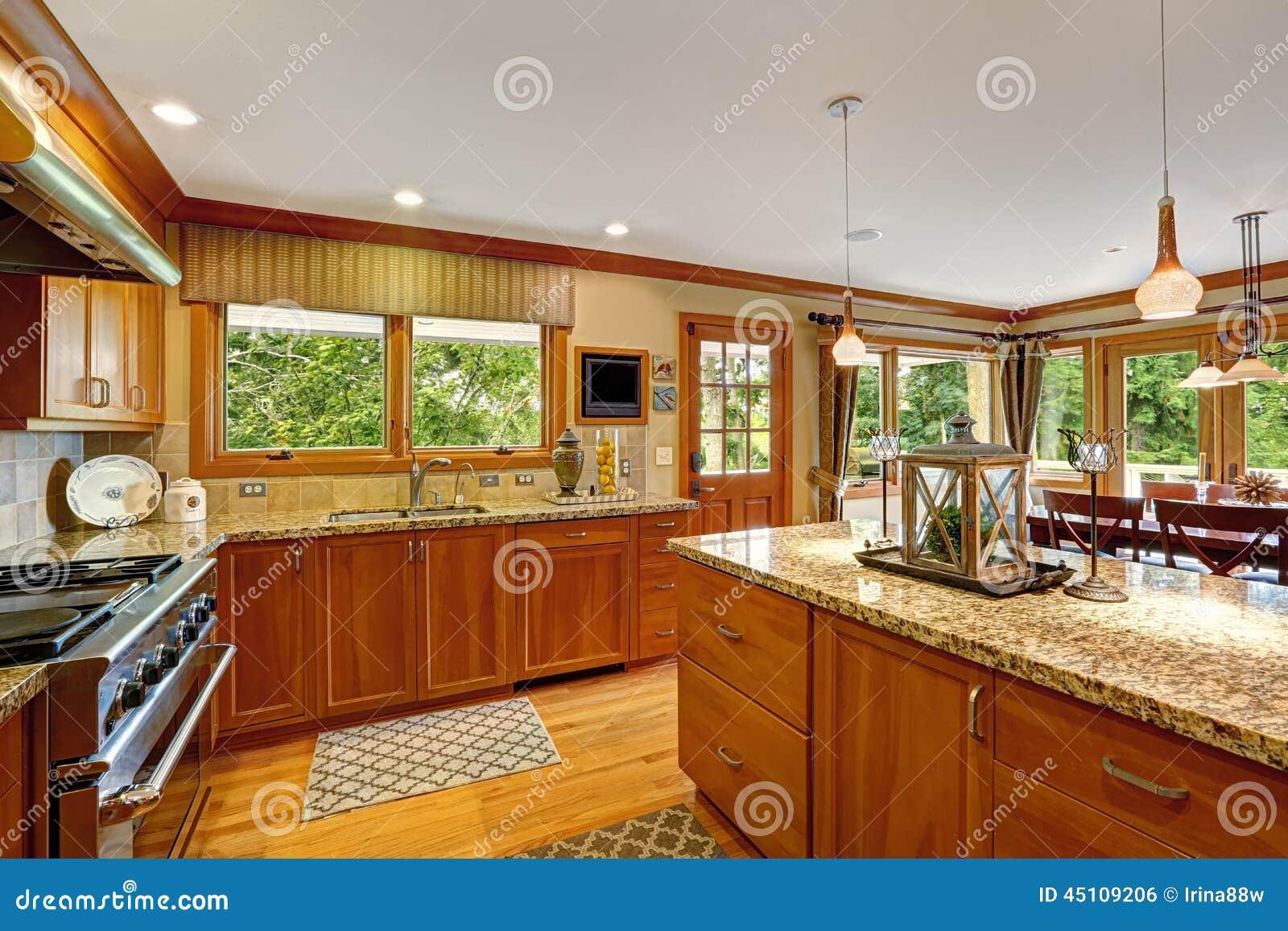 Grande Sala Da Cozinha Com Ilha Decorada Foto De Stock Imagem De