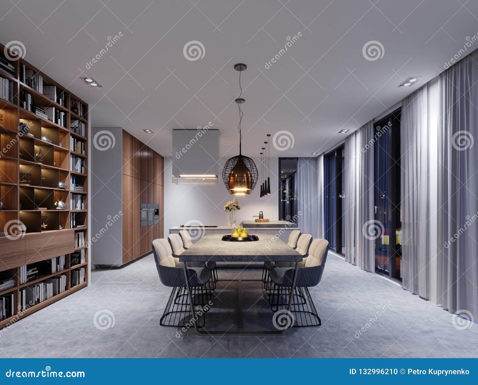 Grande Sala Da Pranzo Con La Cucina Grande Tavolo Da Pranzo In Un Fashiona Illustrazione Di Stock Illustrazione Di Contemporaneo Vuoto 132996210