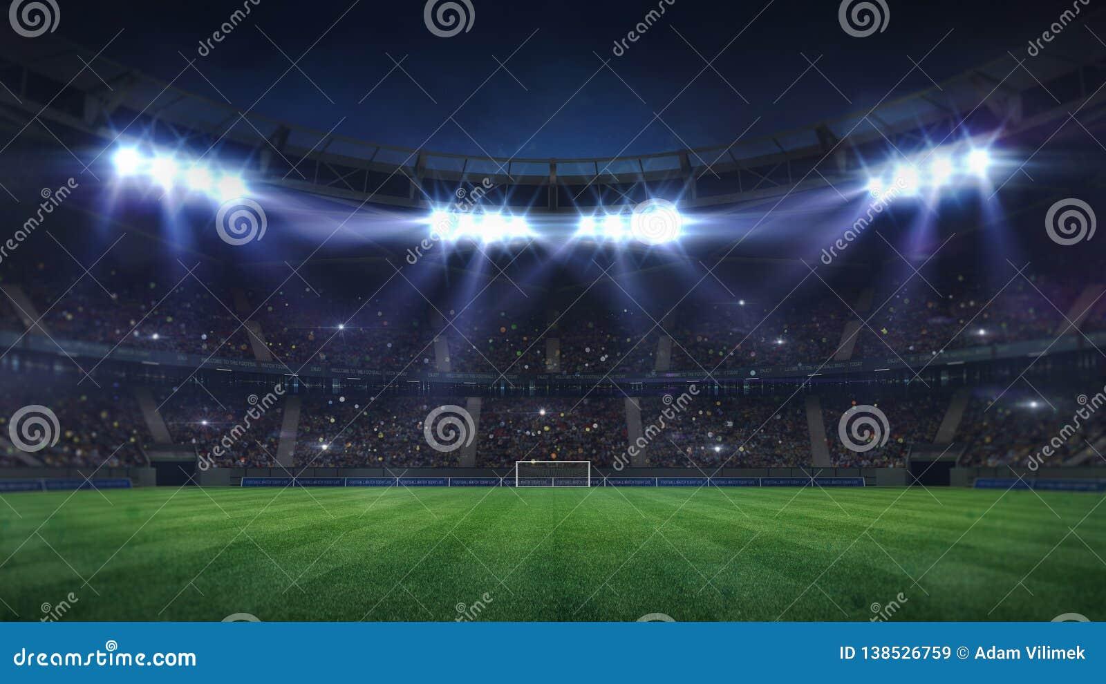 Grande stadio di football americano illuminato dai riflettori e dal campo da giuoco vuoto dell erba verde
