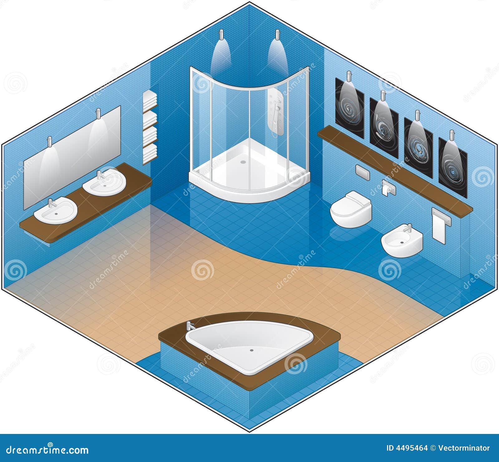 Grande stanza da bagno di stile moderno illustrazione - Stanze da bagno moderne ...