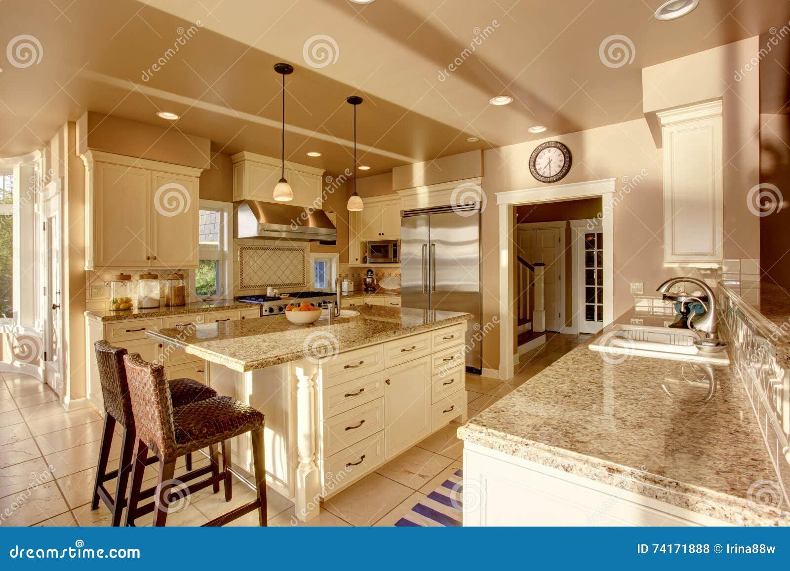 Grande stanza di lusso della cucina nei colori beige con i for Grande disposizione della stanza