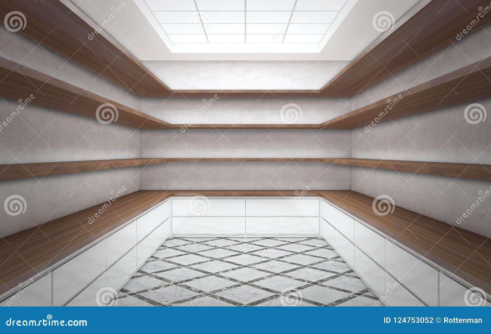 Grande stanza luminosa del guardaroba con gli scaffali vuoti