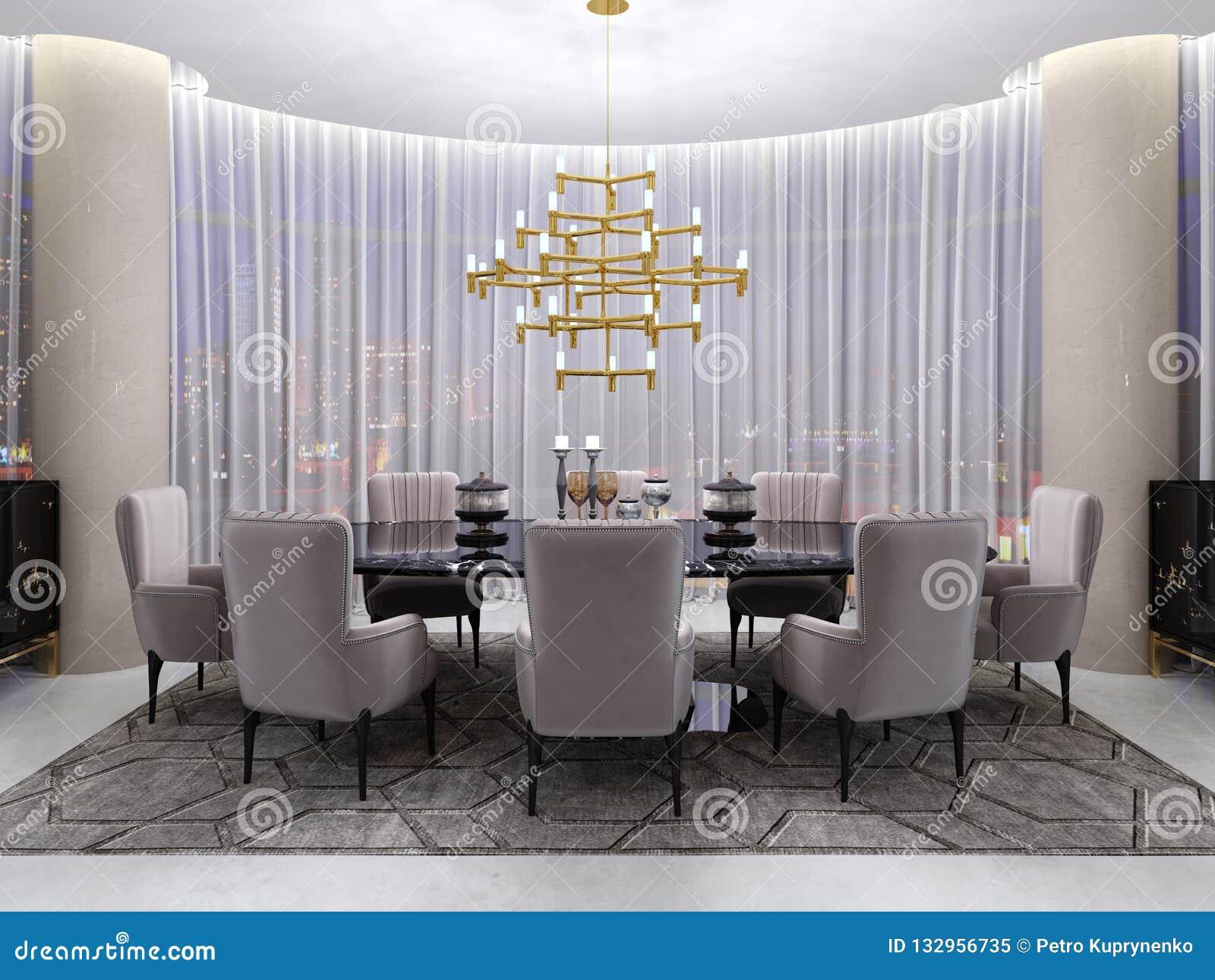 Grande Table De Salle à Manger Dans L\'hôtel Pour Huit ...