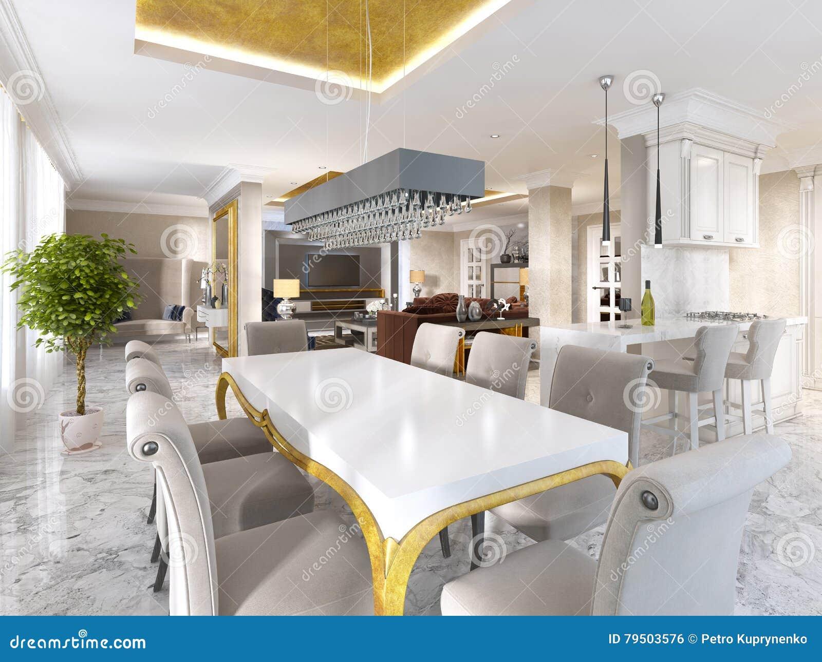 Grande Table De Salle à Manger Pour Huit Dans Le Style De L ...