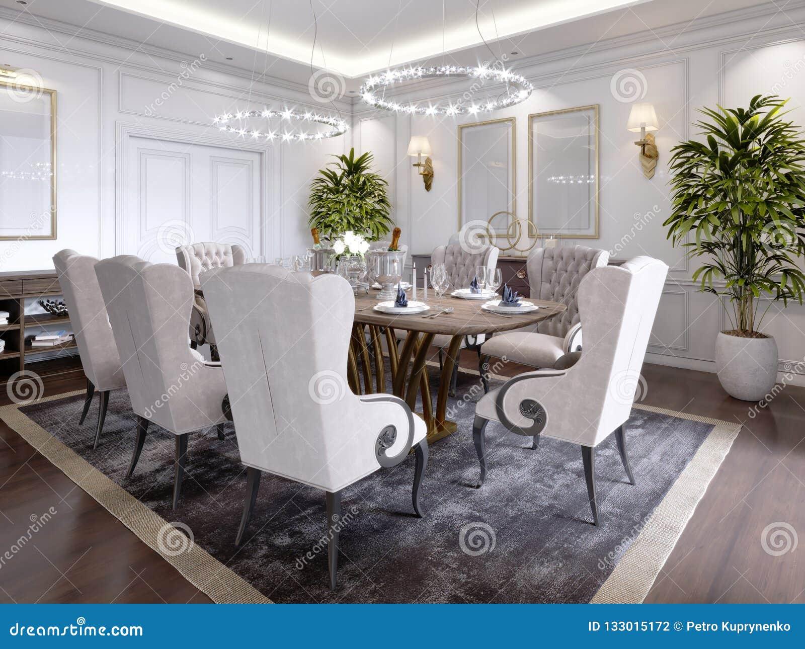 Grande Table De Salle à Manger Pour Huit Personnes Dans Le Style ...