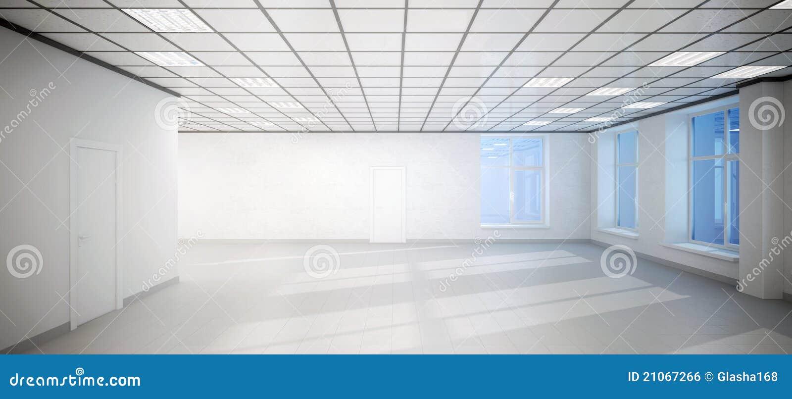 Grande ufficio vuoto della stanza bianca con tre finestre for Grande disposizione della stanza