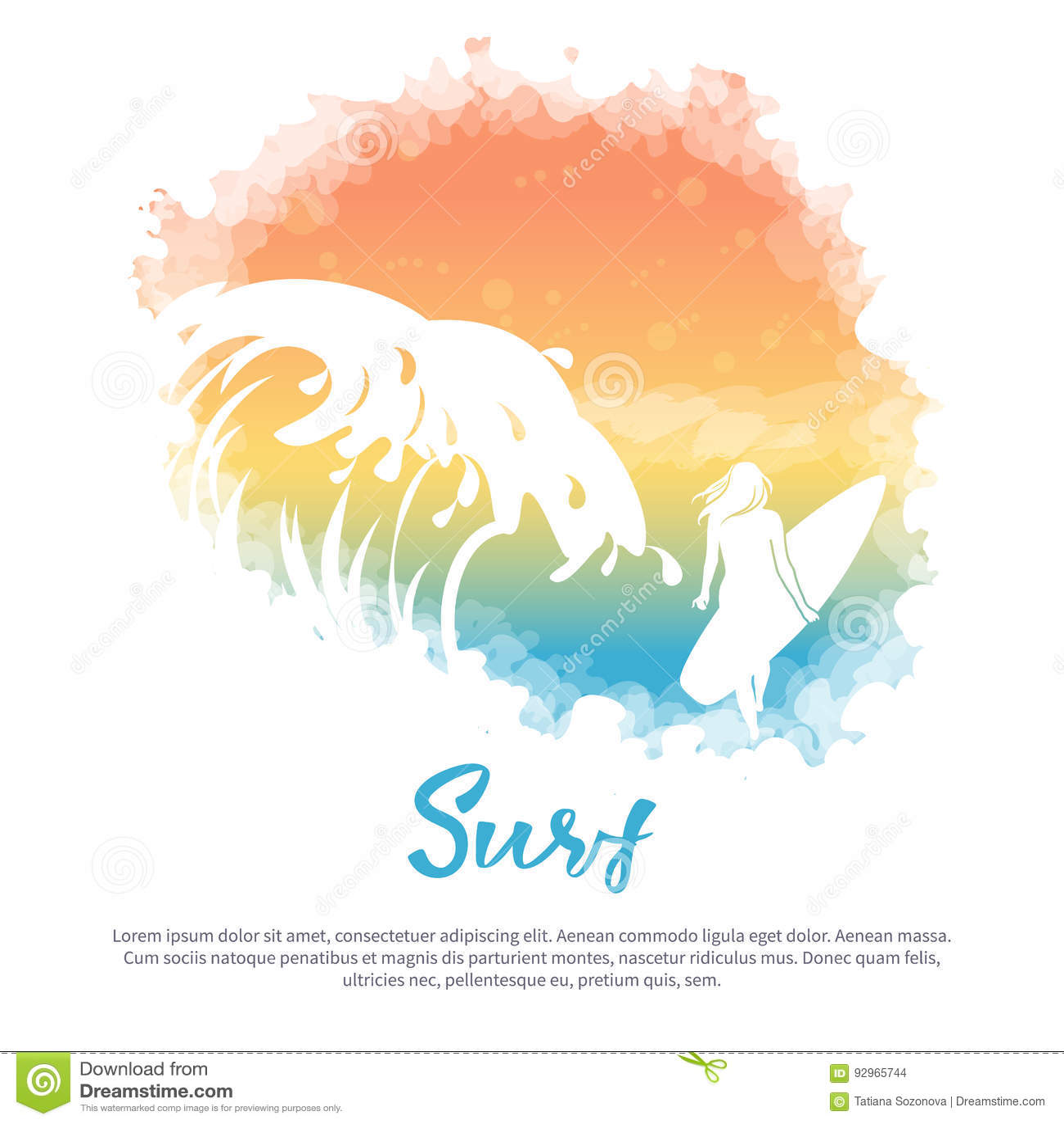 Grande vague, une fille avec une planche de surf