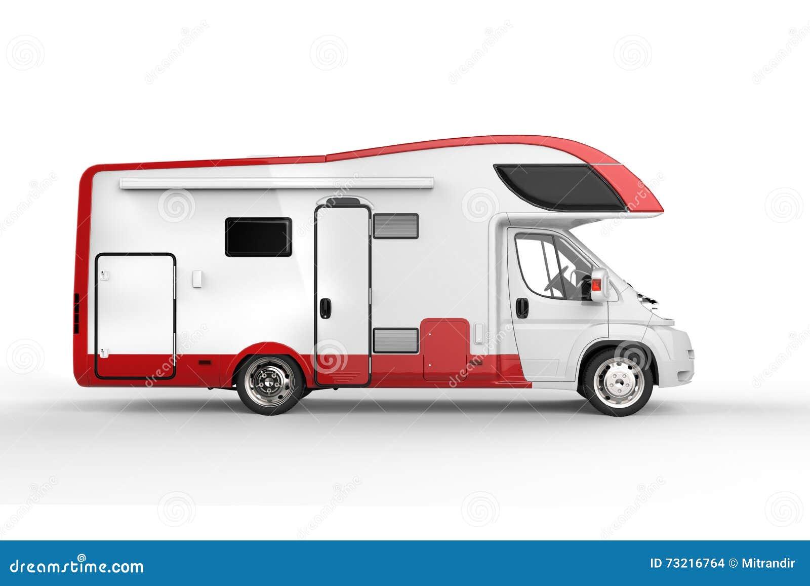 Grande veicolo bianco e rosso del campeggiatore
