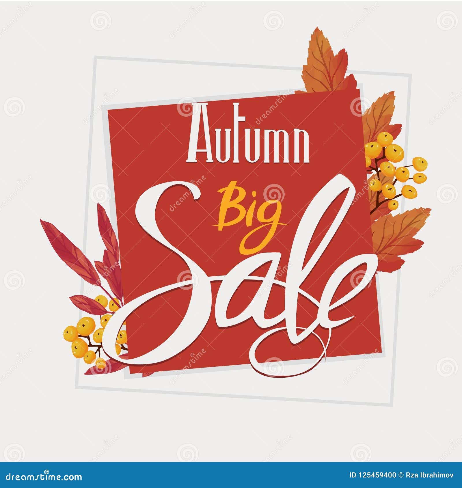 Grande vendita di autunno, aletta di filatoio, insegna, modello del manifesto