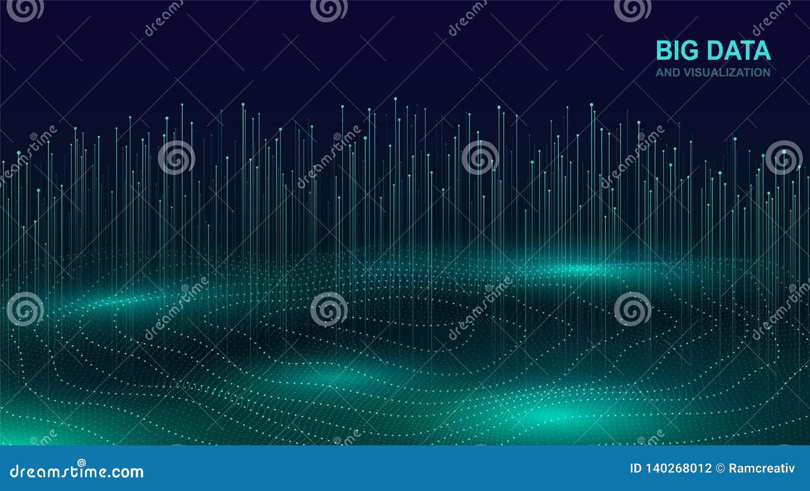 Grande visualizzazione di dati Progettazione cosmica futuristica di flusso di dati Fondo digitale astratto con le particelle scor