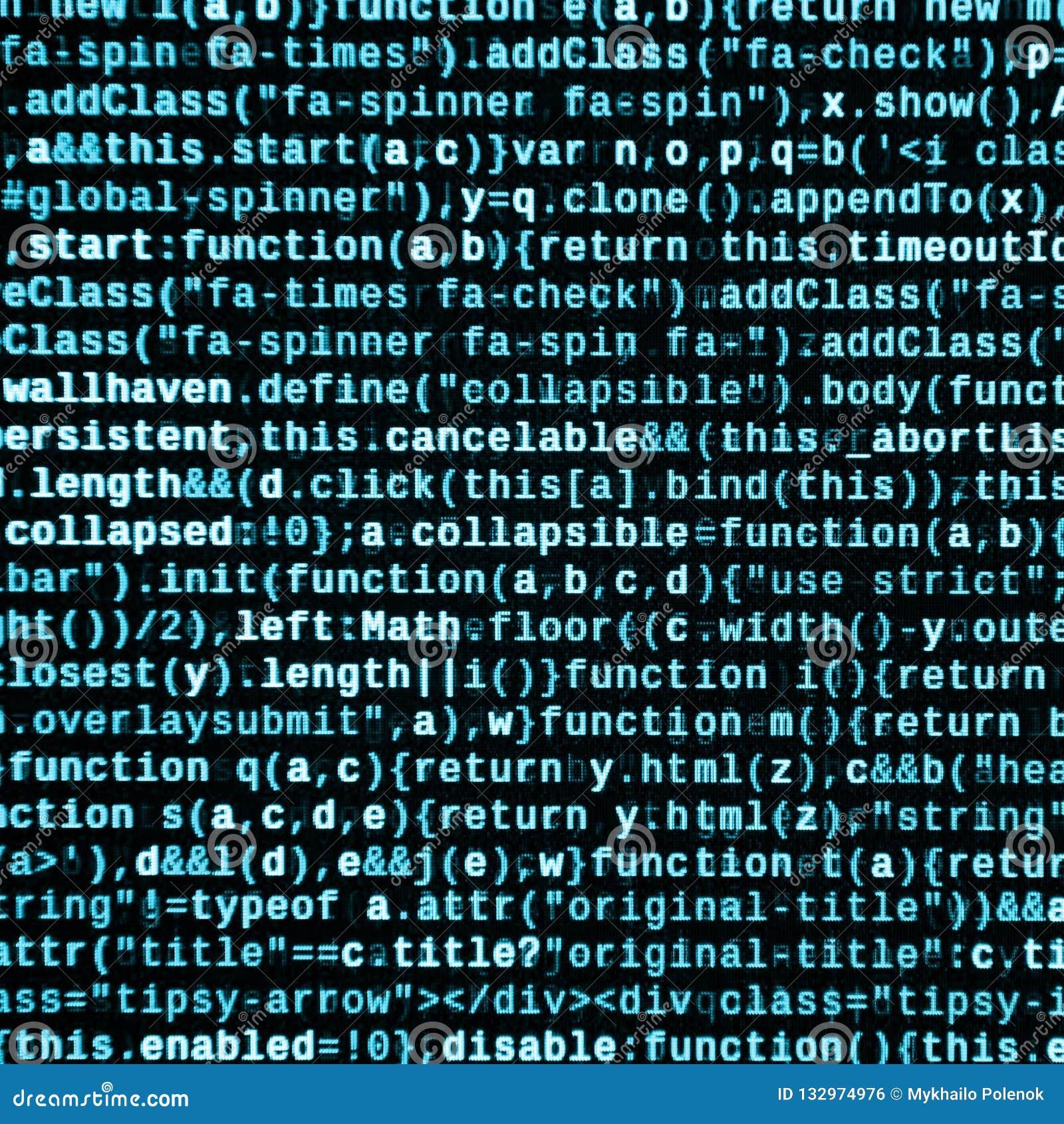 Grandes données et Internet de tendance de choses Lieu de travail informatique de spécialiste Code de HTML de site Web sur l affi