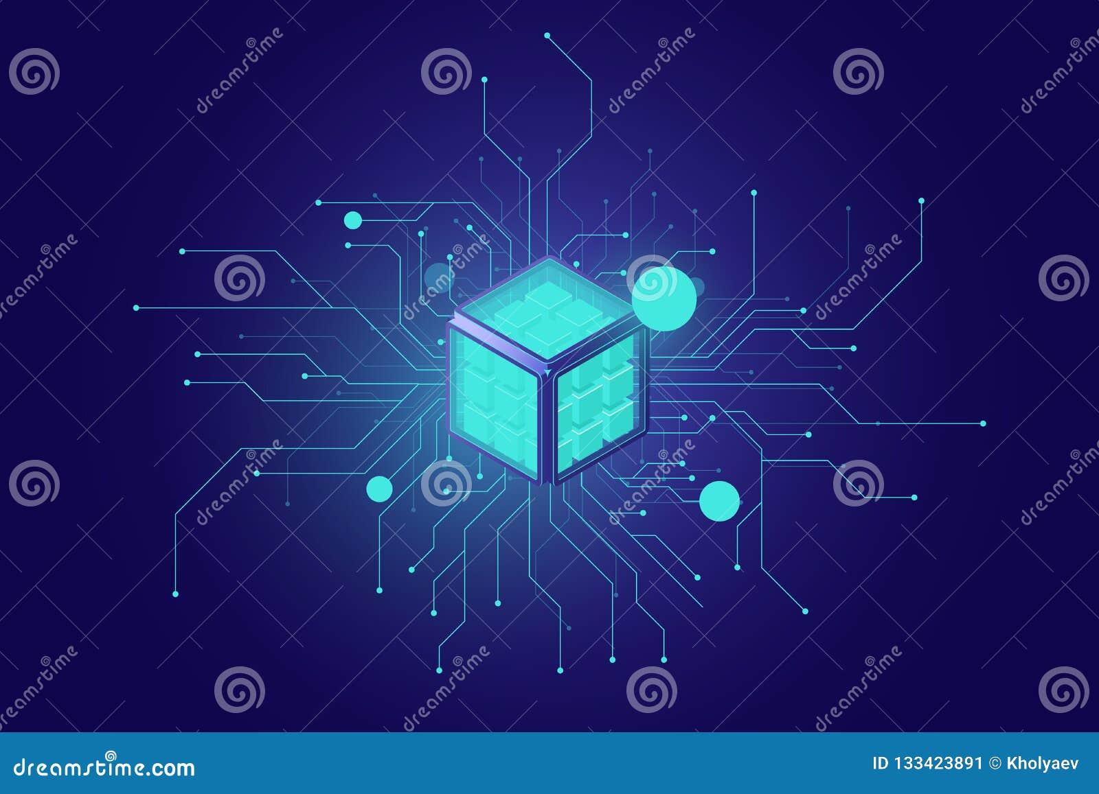 Grandes données, icône isométrique artificielle de l intelligence AI, réseau neurologique, de traitement de l information, obscur