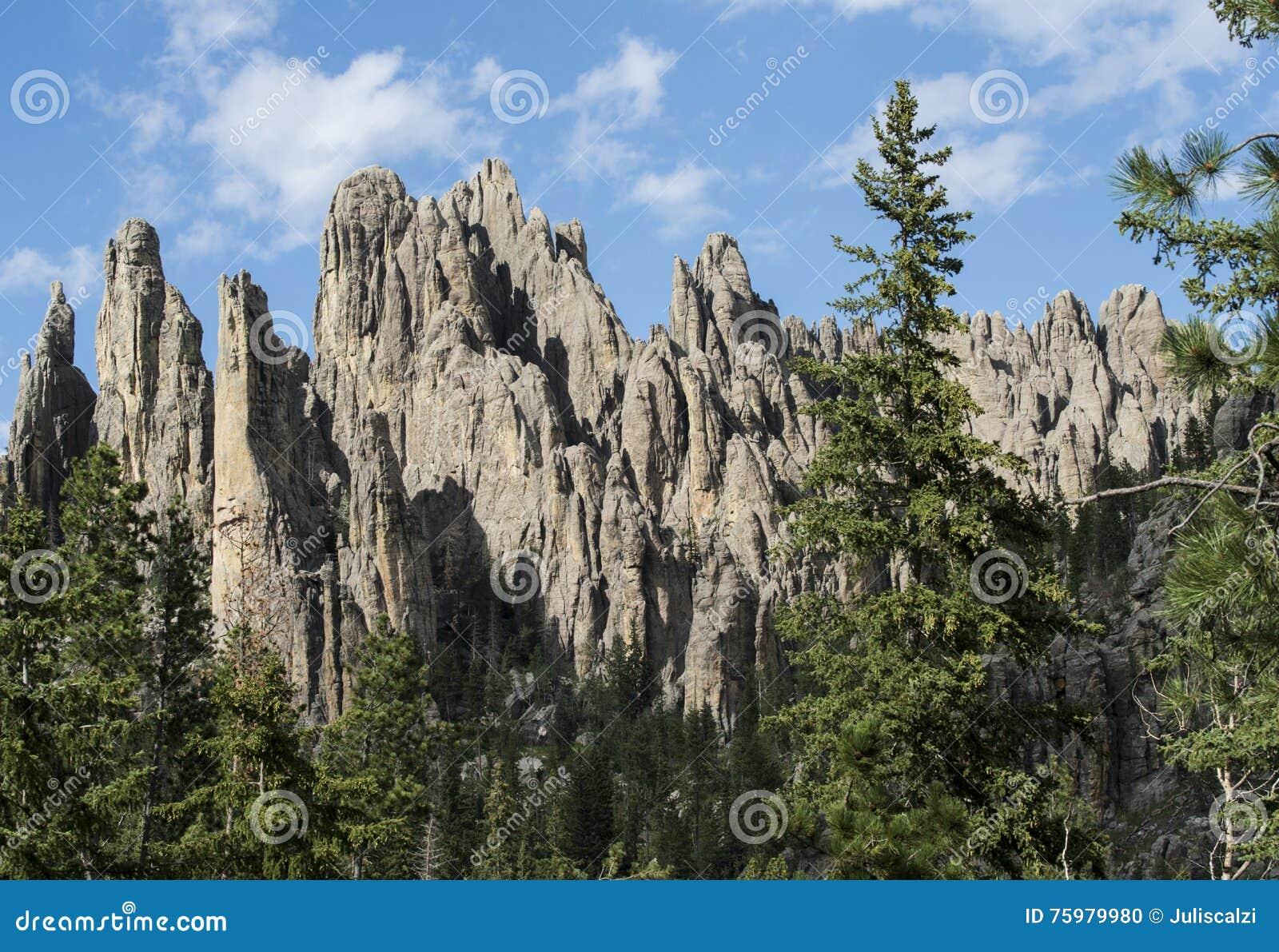 Grandes formações do granito em Custer State Park, South Dakota, pináculos da catedral