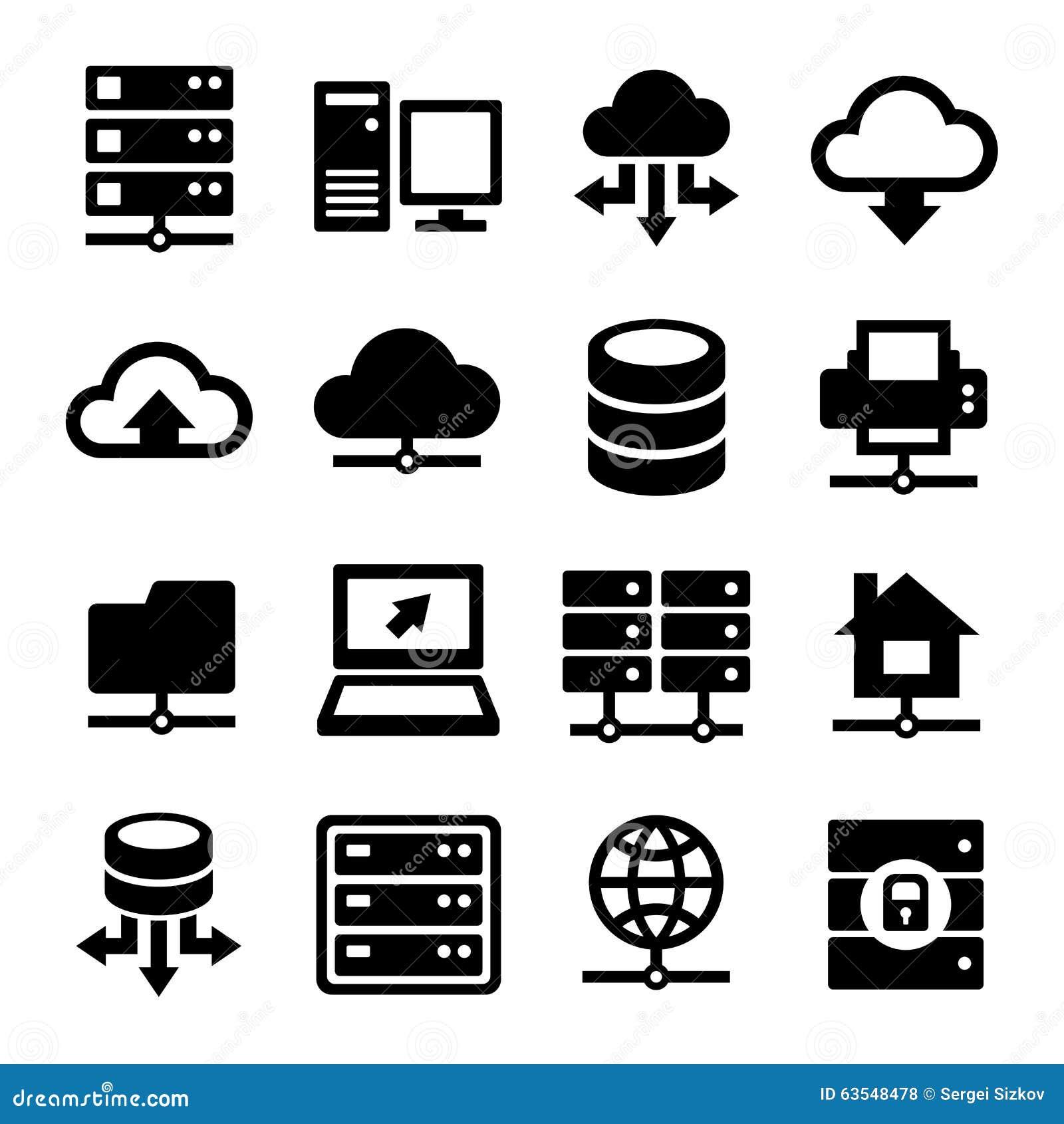 Grandes icônes de centre de traitement des données et de serveur réglées Vecteur