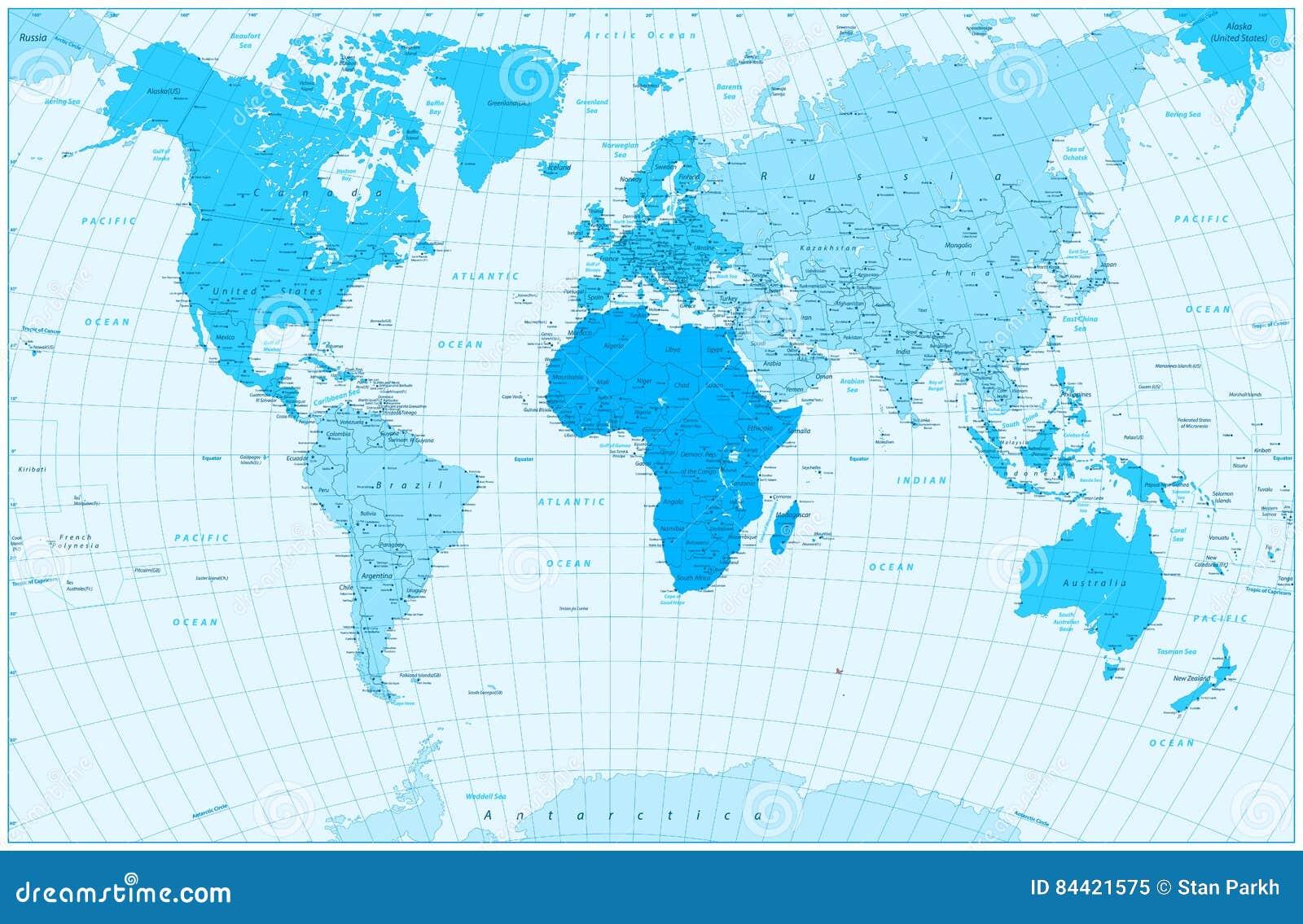 Grandes mapa do mundo e continentes detalhados nas cores do azul