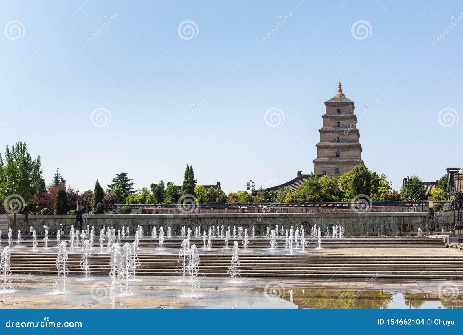 Grandes pagoda d oie et place sauvages de fontaine