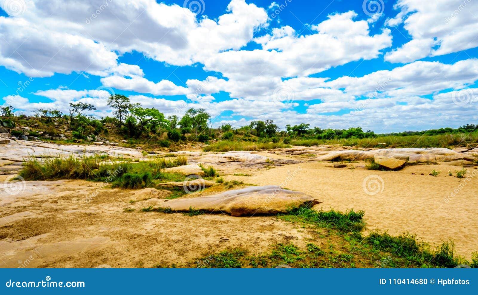 Grandes roches dans Sabie River presque sèche en parc national central de Kruger