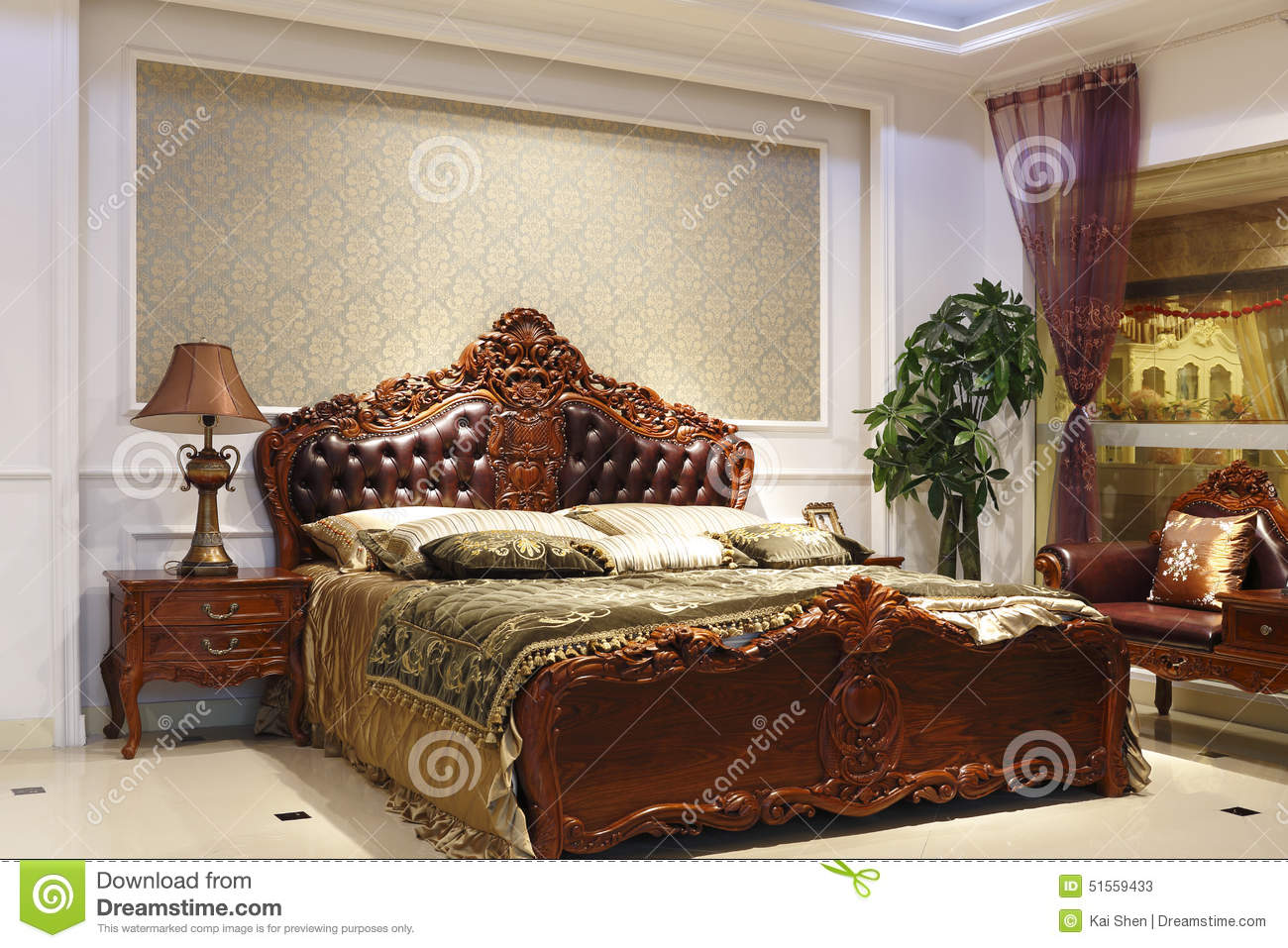 The grandeur of the bedroom stock photo image 51559433 for Bed quilting designs
