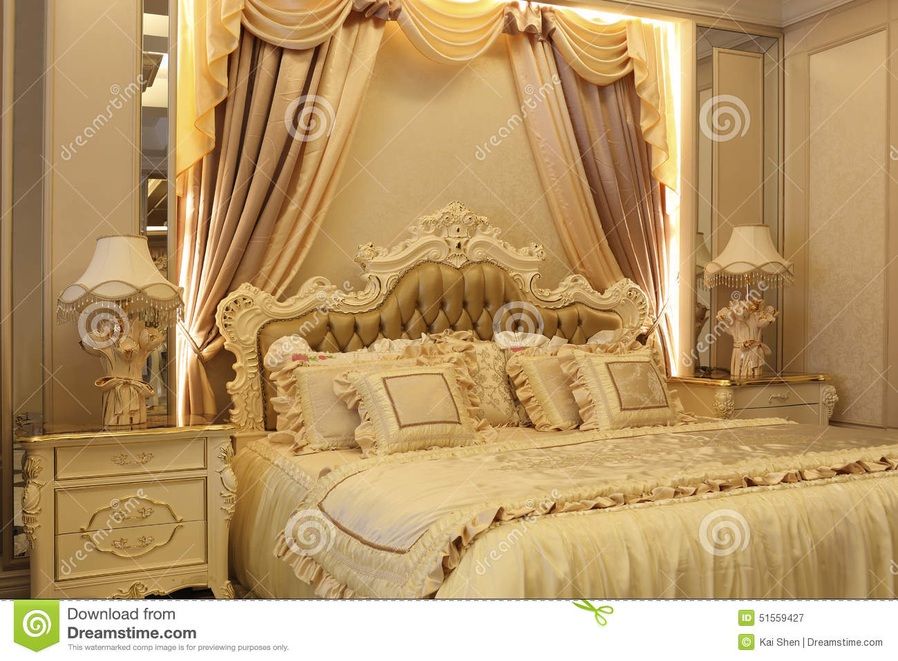 Golden Bed Stock Photo Image 51559427