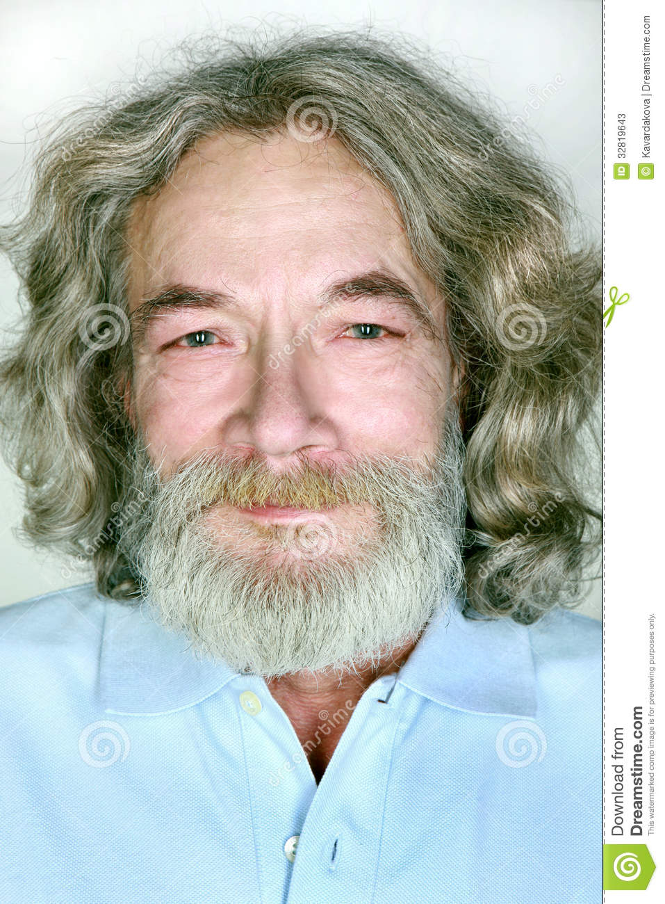 Grandfather With A Beard And Long Hair Smiles Stock Image