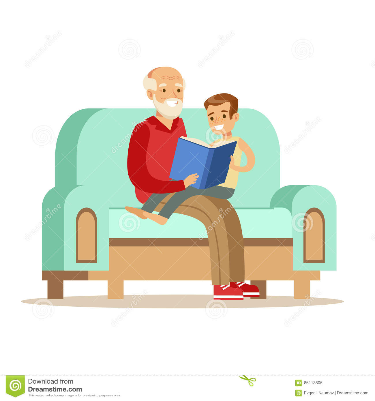 Grandfather And Boy Reading A Book Part Of Grandparents