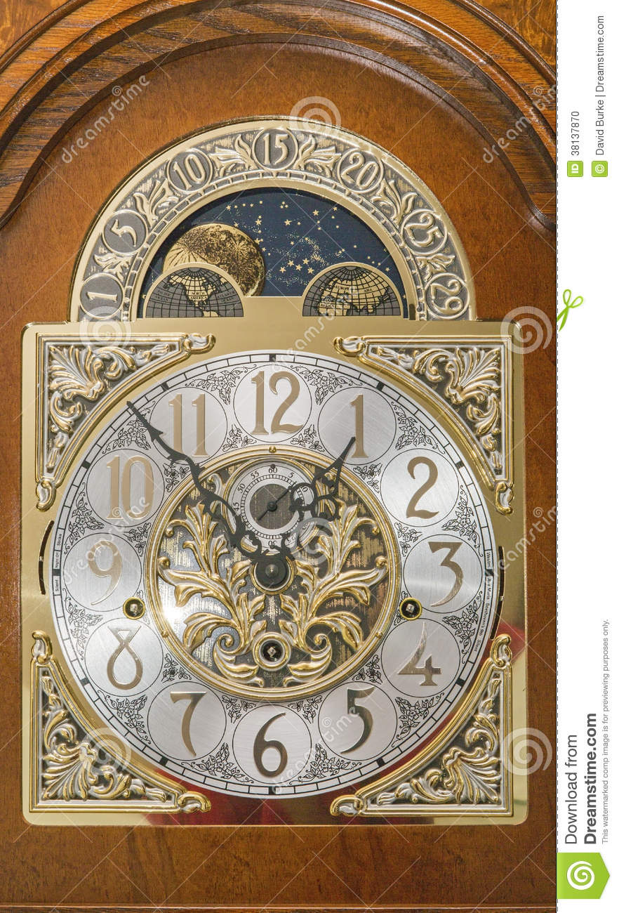 Grandfather Clock Face Wooden Case Moving Moon Dial Stock ...