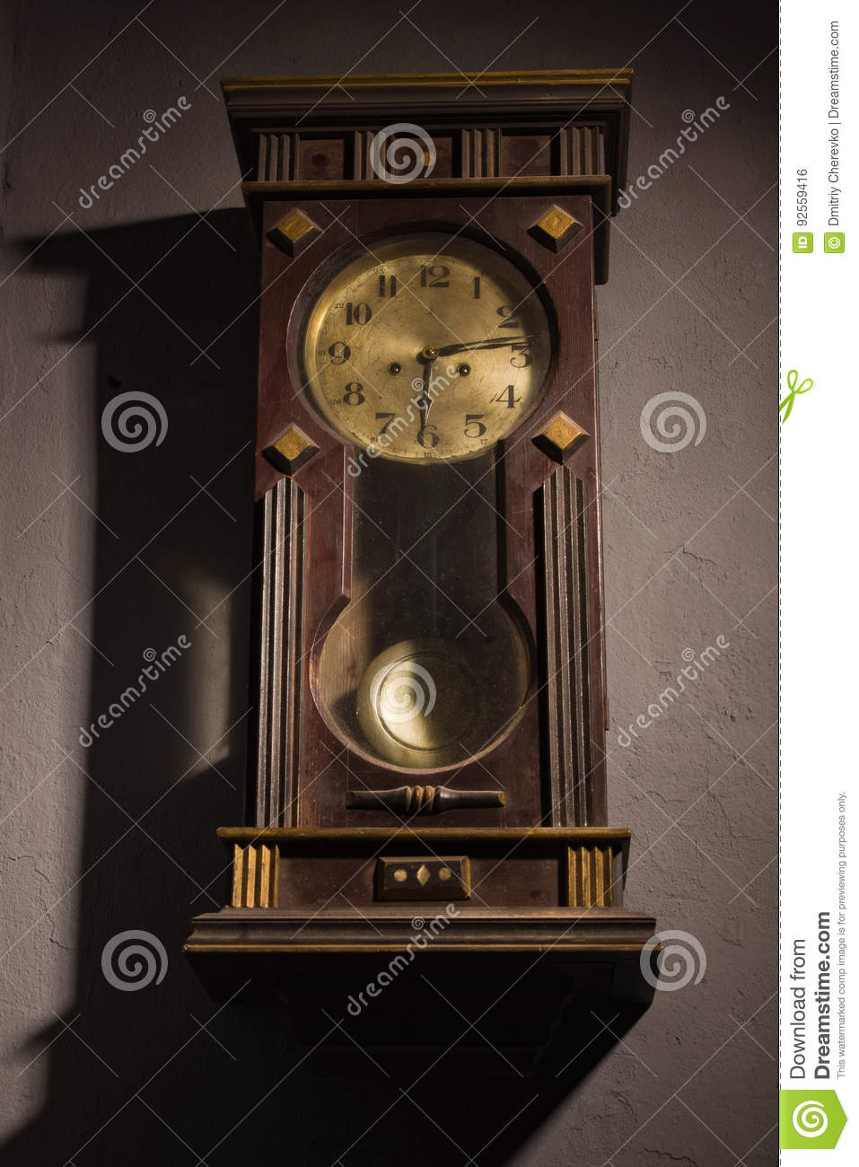Grandfather Clock Hanging On A Wall Stock Photo Image Of Clock