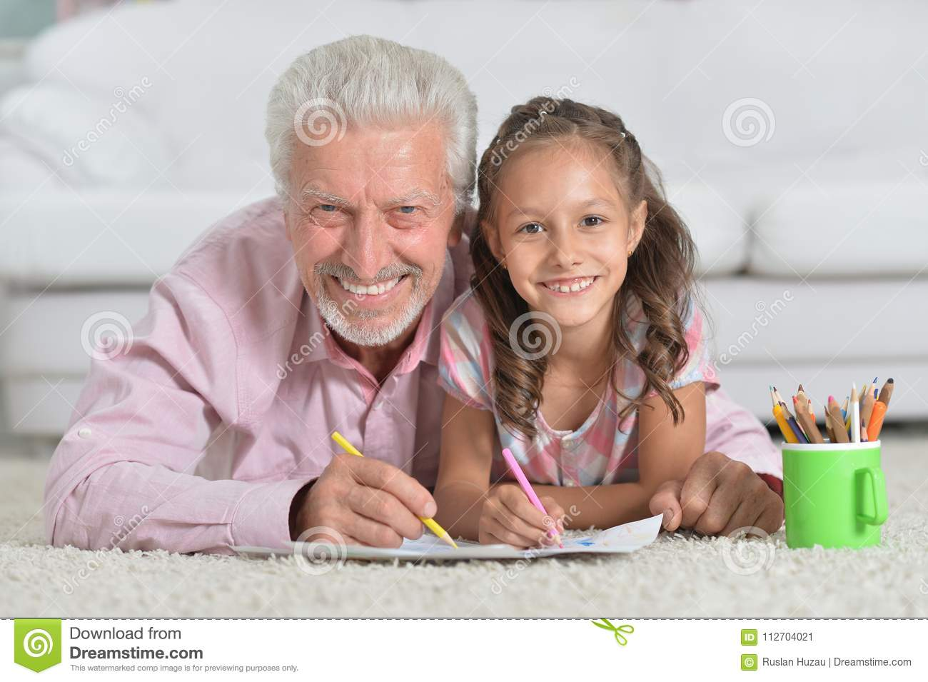 Grandfather Drawing Granddaughter Stock Images Download