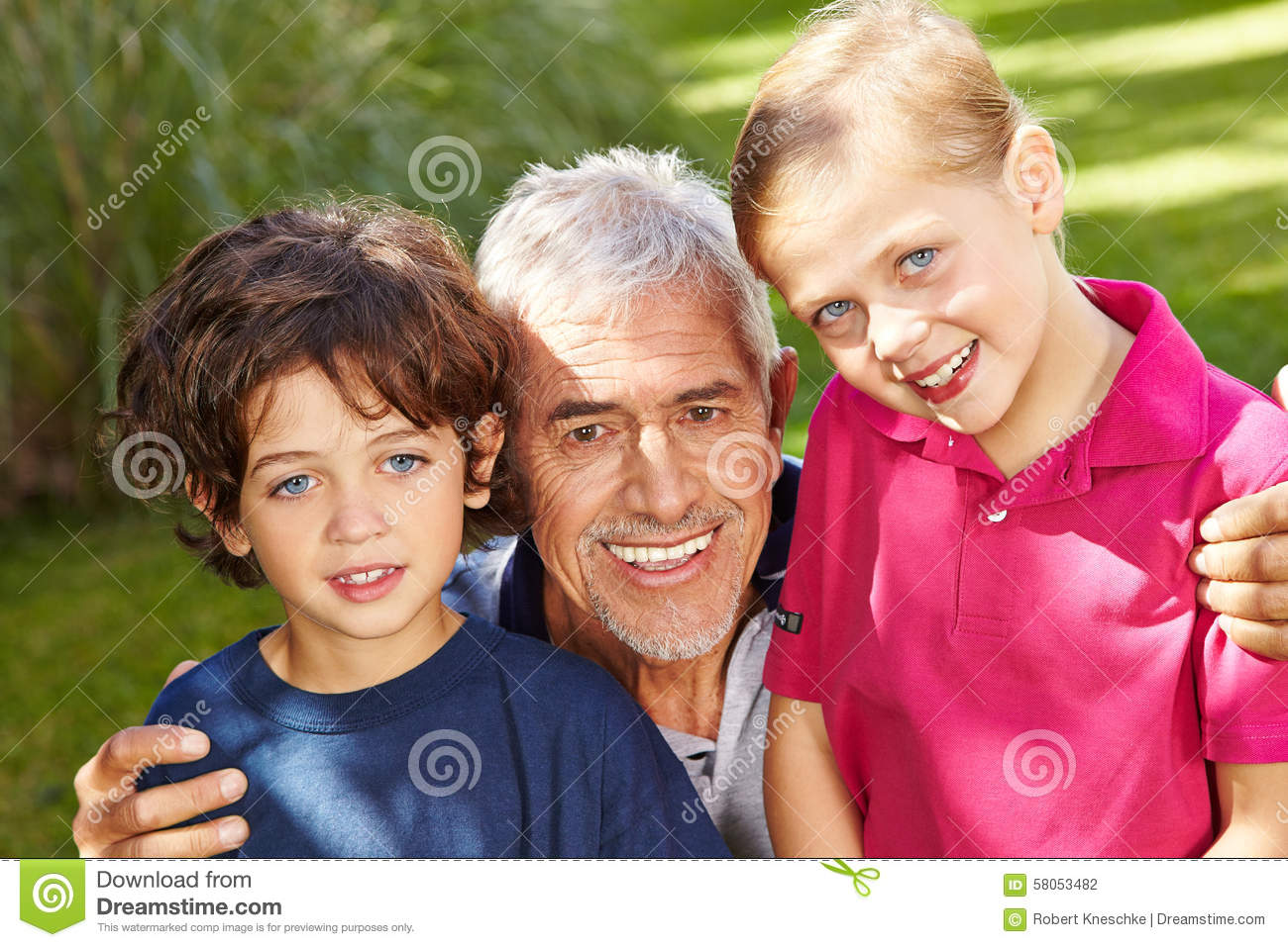 grandfather with grandkids in garden stock photo image of