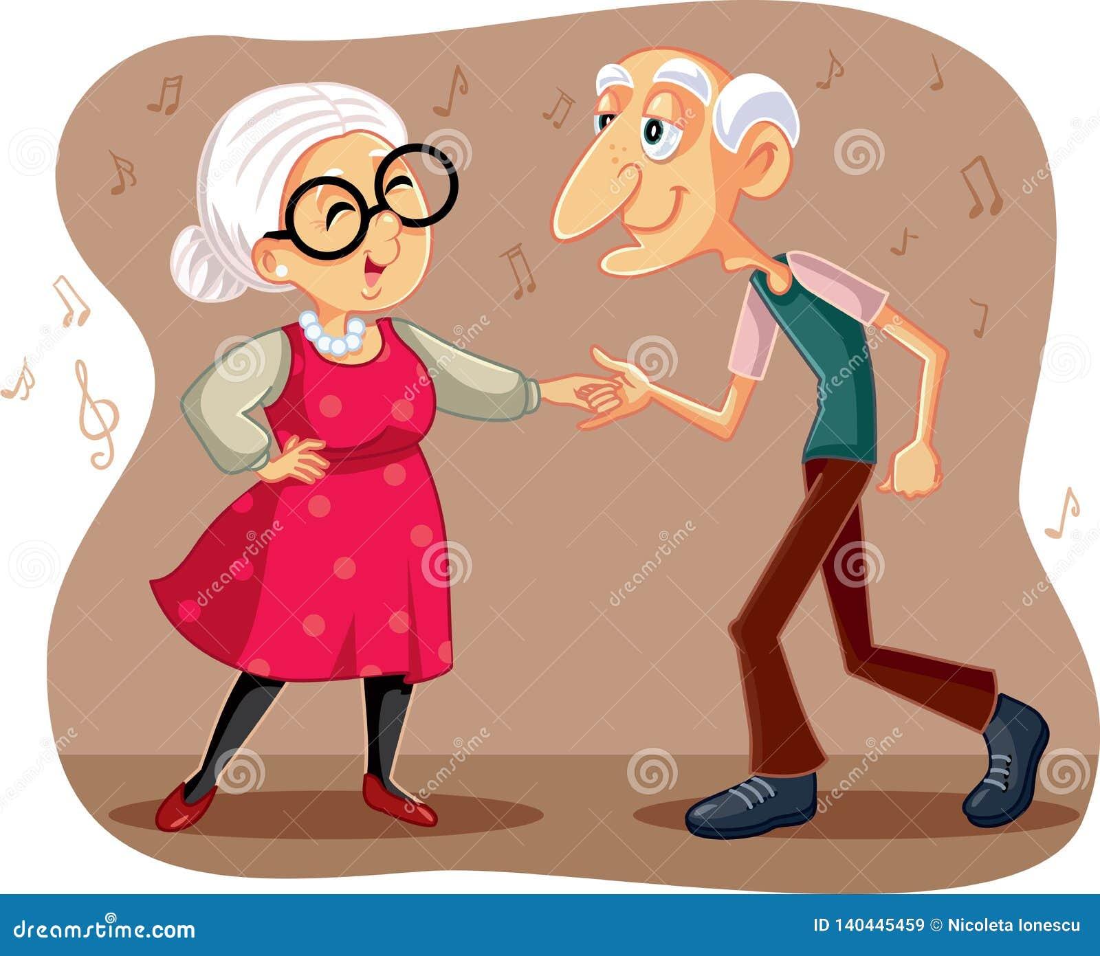 Funny Elderly Couple Dancing Vector Cartoon Stock Vector