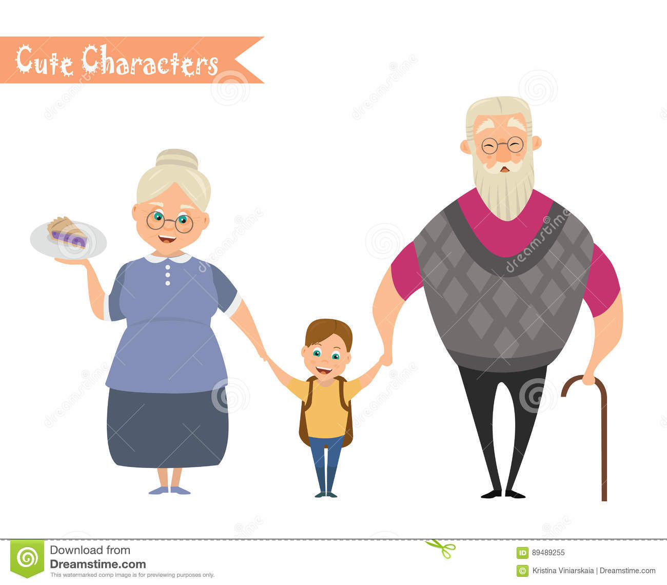Grandfather, grandmother and grandson together.