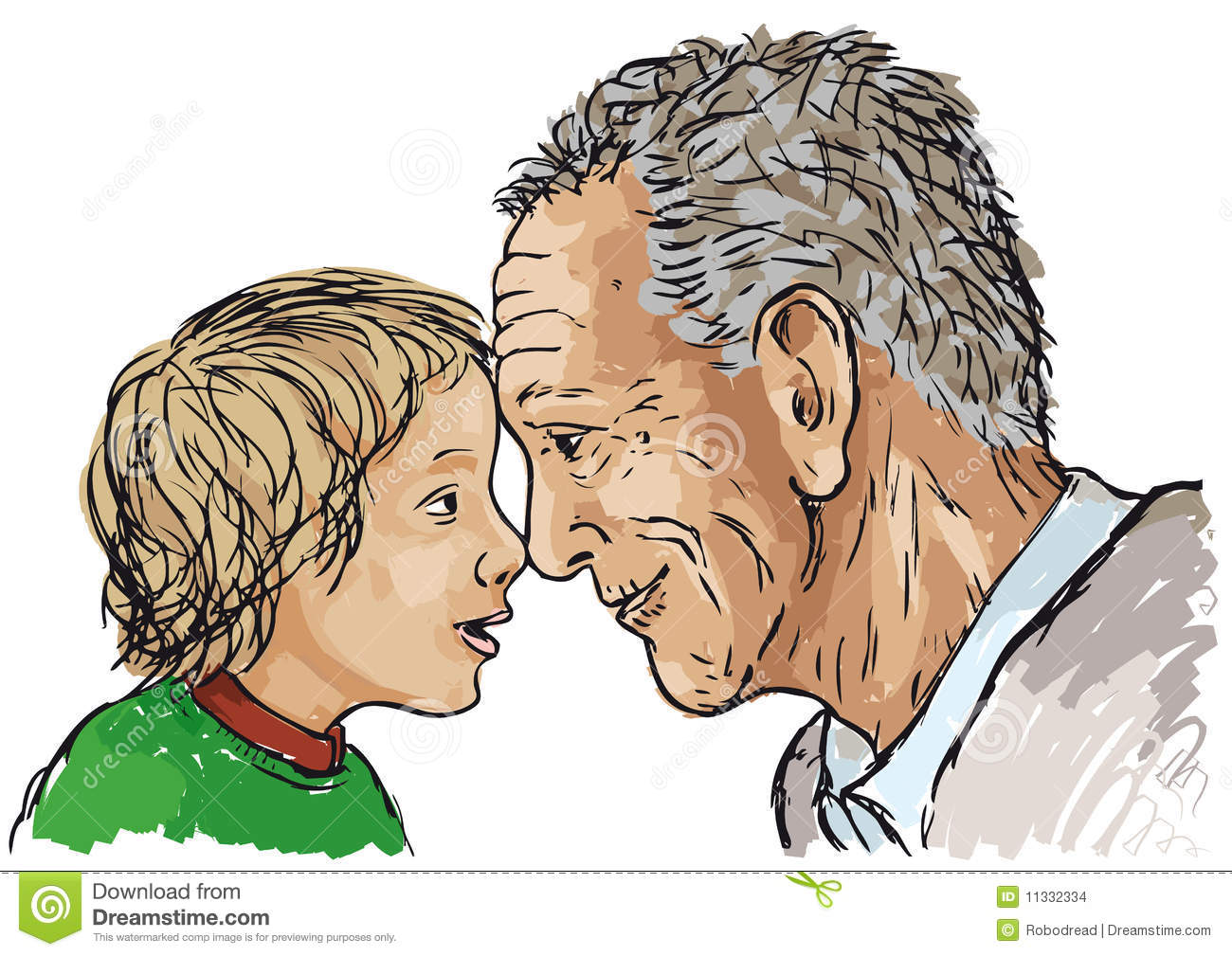 grandfather and grandson stock vector illustration of