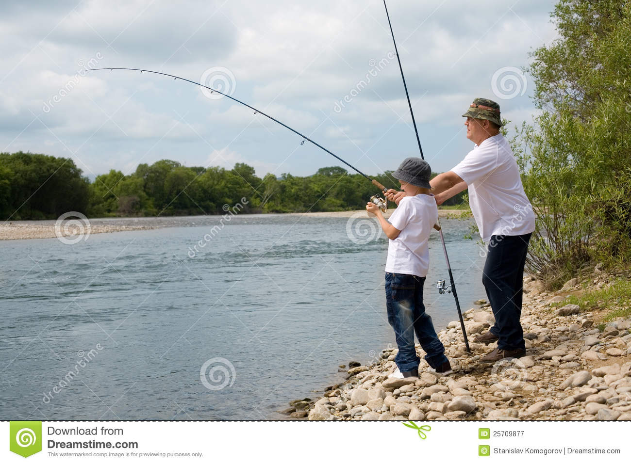Grandfather and grandson fishing royalty free stock for Fishing times free