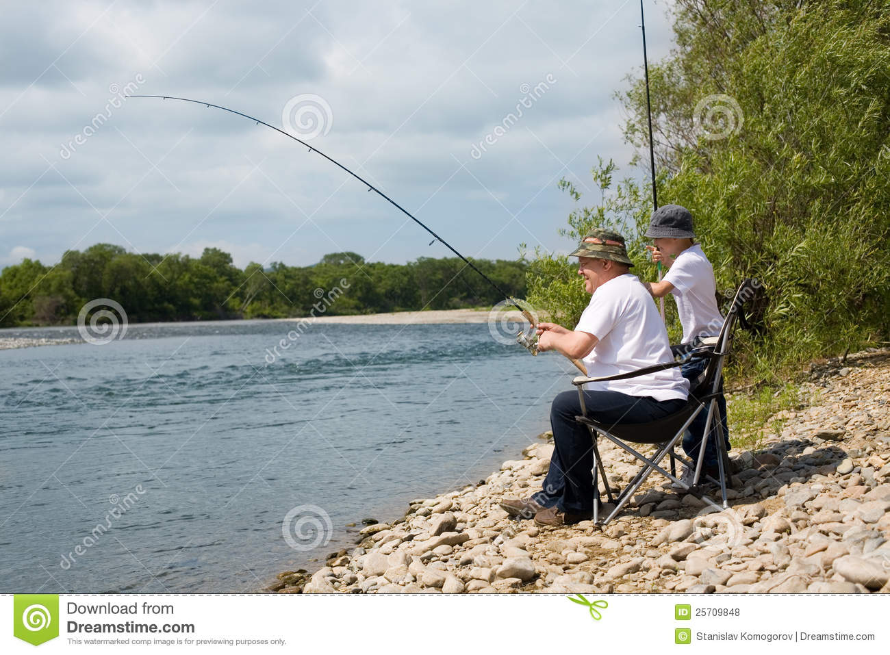 Grandfather and grandson go fishing royalty free stock for Go go fishing