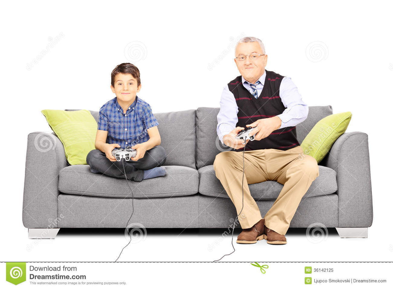 Grandfather With His Nephew Seated On A Sofa Playing Video  : grandfather his nephew seated sofa playing video games isolated white background 36142125 from dreamstime.com size 1300 x 957 jpeg 117kB