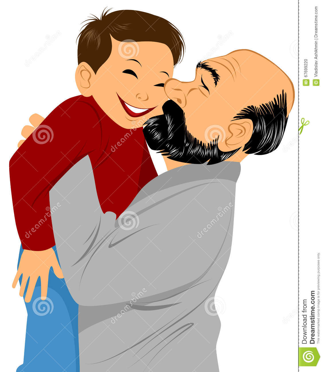 Happy Family Portrait Of Boy And Grandpa Hugging Royalty ...
