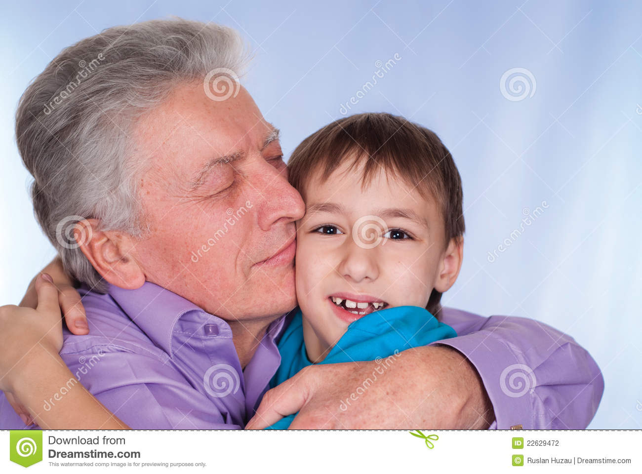 Grandfather with kid