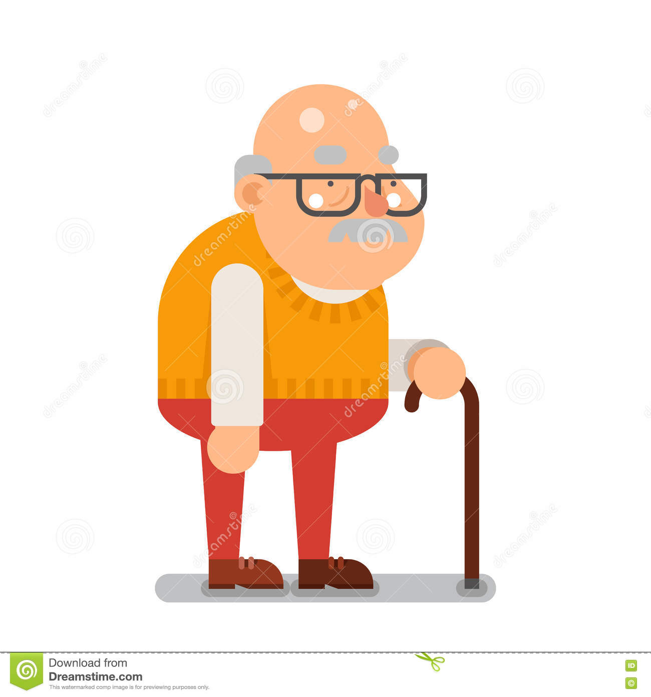Cartoon Characters Old Man : Grandfather old man character cartoon flat design vector