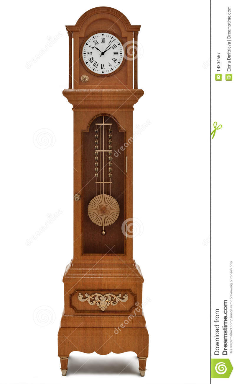 Grandfather's Clock On White Background Royalty Free Stock Photography ...