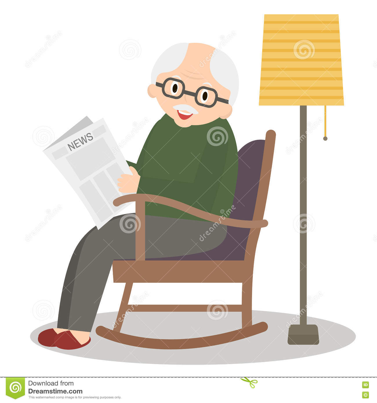 Elderly Man In Rocking Chair Vector Cartoon Vector