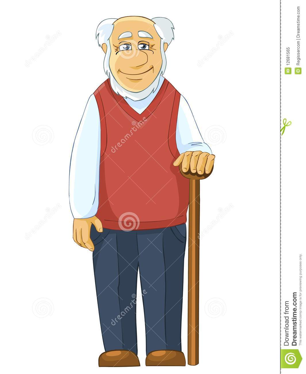 Illustration of smiling grandfather with a stick. Isolated on white ...