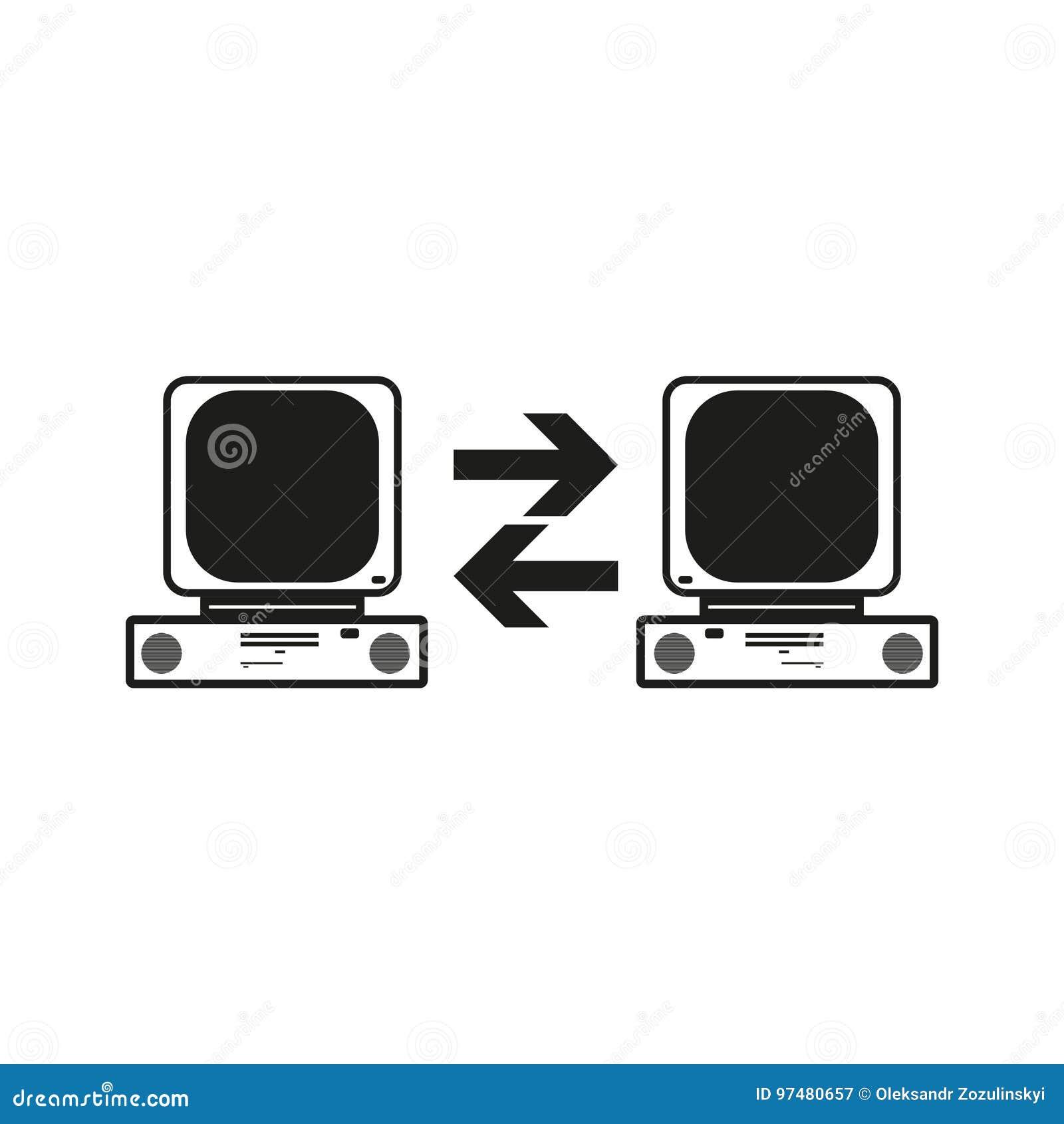 Grandi della comunicazione dei dati fra due computer Vector l icona nera su fondo bianco