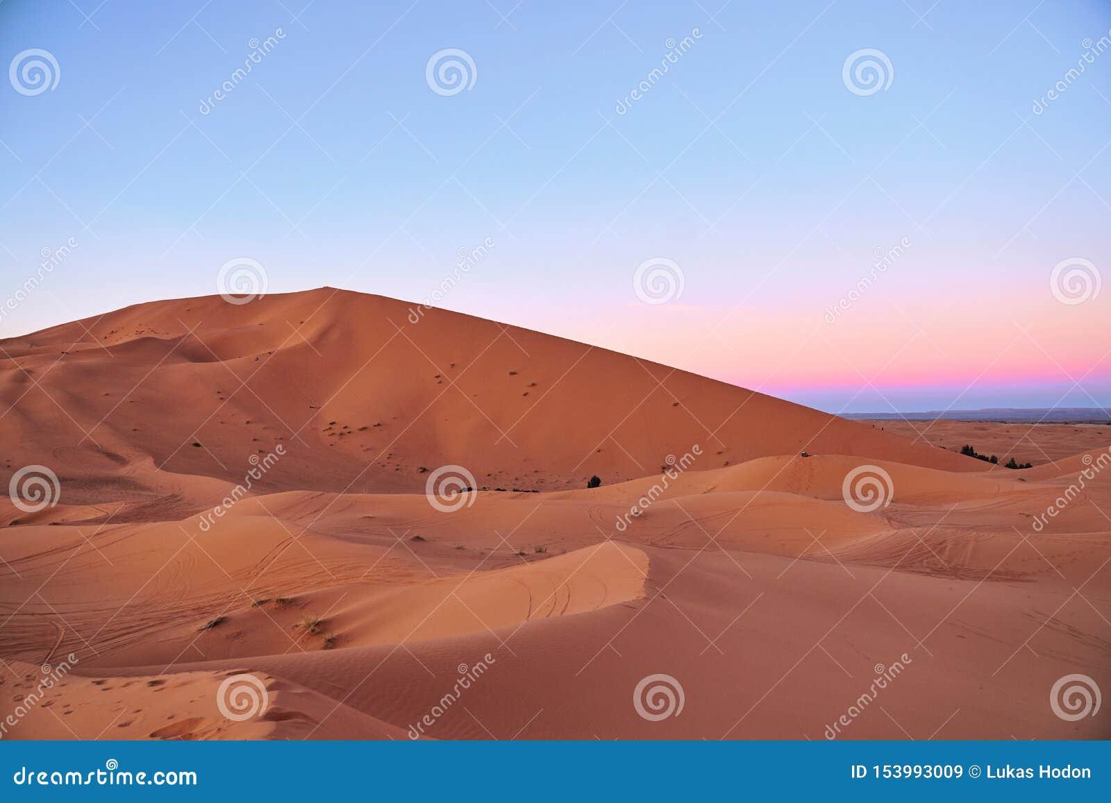 Grandi dune nel deserto del Sahara durante il tramonto