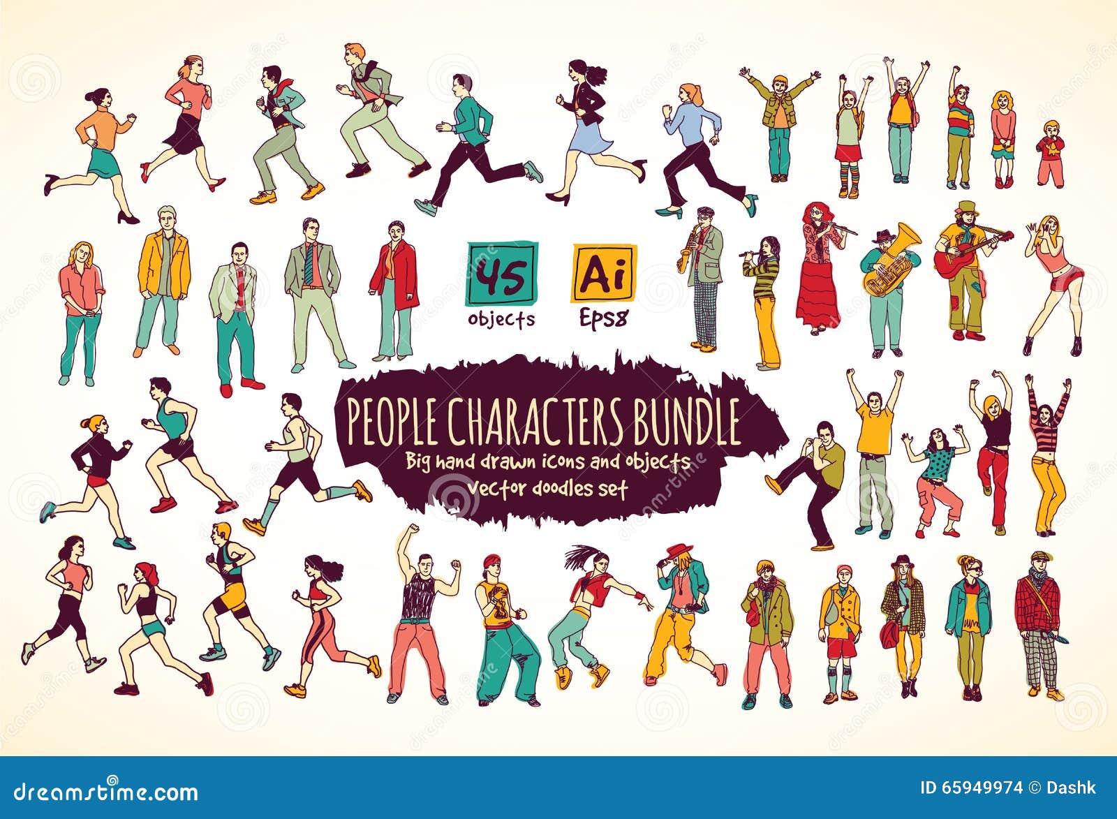 Grandi icone di colore di scarabocchi dei caratteri della gente del pacco